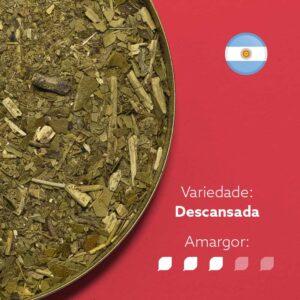 Erva-mate argentina em fundo rosa com símbolo da bandeira argentina no canto superior ditreito. Com os dizeres: Variedade - Descansada. Amargor nível 3 de 5.