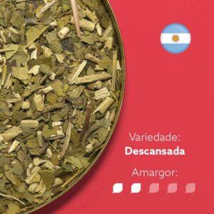 Erva-mate argentina em fundo rosa com símbolo da bandeira argentina no canto superior ditreito. Com os dizeres: Variedade - Descansada. Amargor nível 2 de 5.