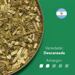 Erva-mate Descasanda com a bandeira arredonda da argentina no canto superior direito. Em escrito: Variedade - Descansada. Amargor nível 2 de 5.