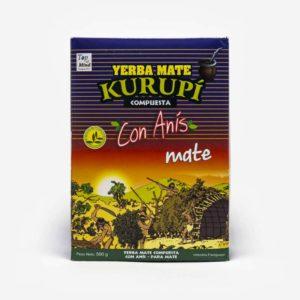 Pacote de erva-mate Kurupi 500 gramas. Pacote azul com ilustração de um pôr do sol. Erva-mate saborizada com anís. Para tereré.