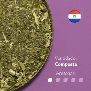 Erva-mate Kurupi composta de erva-mate com Anís em recipiente metálico ocupando metade da imagem. Fundo roxo claro. Bandeira do Paraguai no canto superior direito. Em escrito: Varidade Composta. Amargor nível 1 de 5.