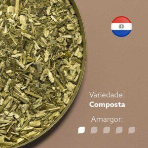 Erva-mate em recipiente metálico ocupando lado esquerdo da imagem. Fundo marrom claro. Bandeira circular do Paraguai no canto superior direito. Em escrito: Variedade Composta. Amargor nível 1 de 5.