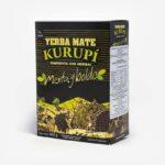 Erva-mate Kurupi Menta e Boldo. Pacote Preto com detalhes em verde claro e amarelo. Em escrito: Yerba Mate Kurupí composta com ervas. Menta e Boldo. 500 gramas.