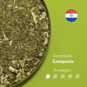Erva-mate Kurupi menta e limão na parte esquerda da imagem. Bandeira do Paraguai no canto superior direito. Varidade - Composta. Amargor nivel 1 de 5.