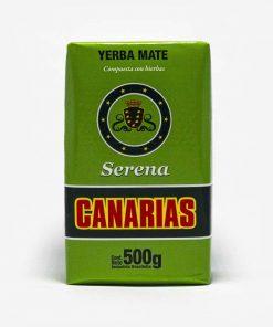 Erva-mate Canárias de 500 gramas. Pacote verde. Em escrito: Yerba Mate - Composta com ervas. Canarias Serena.