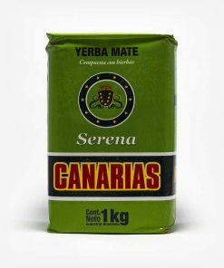 Erva-mate Canárias de 1 quilo. Pacote verde. Em escrito: Yerba Mate - Composta com ervas. Canarias Serena.