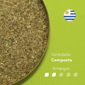 Erva-mate Canarias Serena em recipiente metálico ocupando metade esquerda da imagem. Fundo verde claro. Bandeira circular do Uruguai no canto superior direito. Em escrito: Variedade - Composta. Amargor nível 2 de 5.