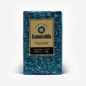 Erva-mate Esmeralda 1 quilo padrão uruguaio. Erva-mate com pacote azul e folhas de erva mate desenhas em azul claro. Rótulo pardo no centro. Em escrito: Erva-mate Esmeralda, 1 quilo