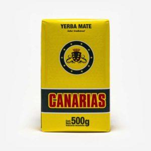 Erva-mate Canárias em fundo cinza claro. Pacote amarelo com logo centro superior. Em escrito: Erva-mate Canárias 500 gramas.
