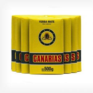 Pacotes de erva-mate Canárias em fundo cinza claro. Pacote amarelo com logo centro superior. Em escrito: Erva-mate Canárias 500 gramas.