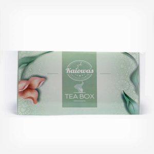 Caixa de Tea Box Kaiowas em fundo cinza claro. Caixinha verde pastel clara, com ilustrações e texturas. Em escrito: Kaiowas tea box.