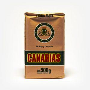 Erva-mate Canárias composta de Chá vermelho e Centella Asiática de 500 gramas em fundo branco. Pacote laranja com logo escrita em vermelho. Faixa verde ao fundo da logo. Em escrito: Yerba Mate, Canárias.