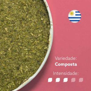 Erva-mate Canarias composta chá vermelho e centella asiática em recipiente metálico ocupando metade esquerda da imagem. Fundo rosa escuroe bandeira da Argentina circular no canto superior direito. Em escrito: Varidade composta com intensidade nível 3 de 5.