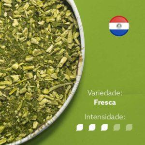 Erva-mate Tereré Natual Mate Nativo em recipiente metálico ocupando metade esquerda da imagem. Fundo verde claro e bandeira do Paraguai circular no canto superior direito. Em escrito: Varidade Fresca com intensidade nível 3 de 5.