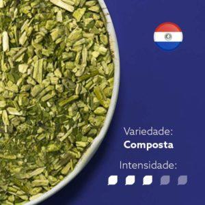 Erva-mate Mate Nativo Composta em recipiente metálico ocupando metade esquerda da imagem. Fundo Azul escuro e bandeira do Paraguai circular no canto superior direito. Em escrito: Varidade Composta com intensidade nível 3 de 5.